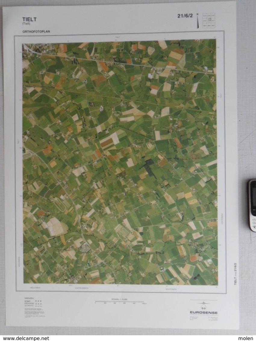 GROTE LUCHT-FOTO TIELT VERRE-GINSTE DENTERGEM ©1990 48x67cm KAART 1/10.000 ORTHOFOTOPLAN TOPOGRAPHIE PHOTO AERIENNE R704 - Tielt
