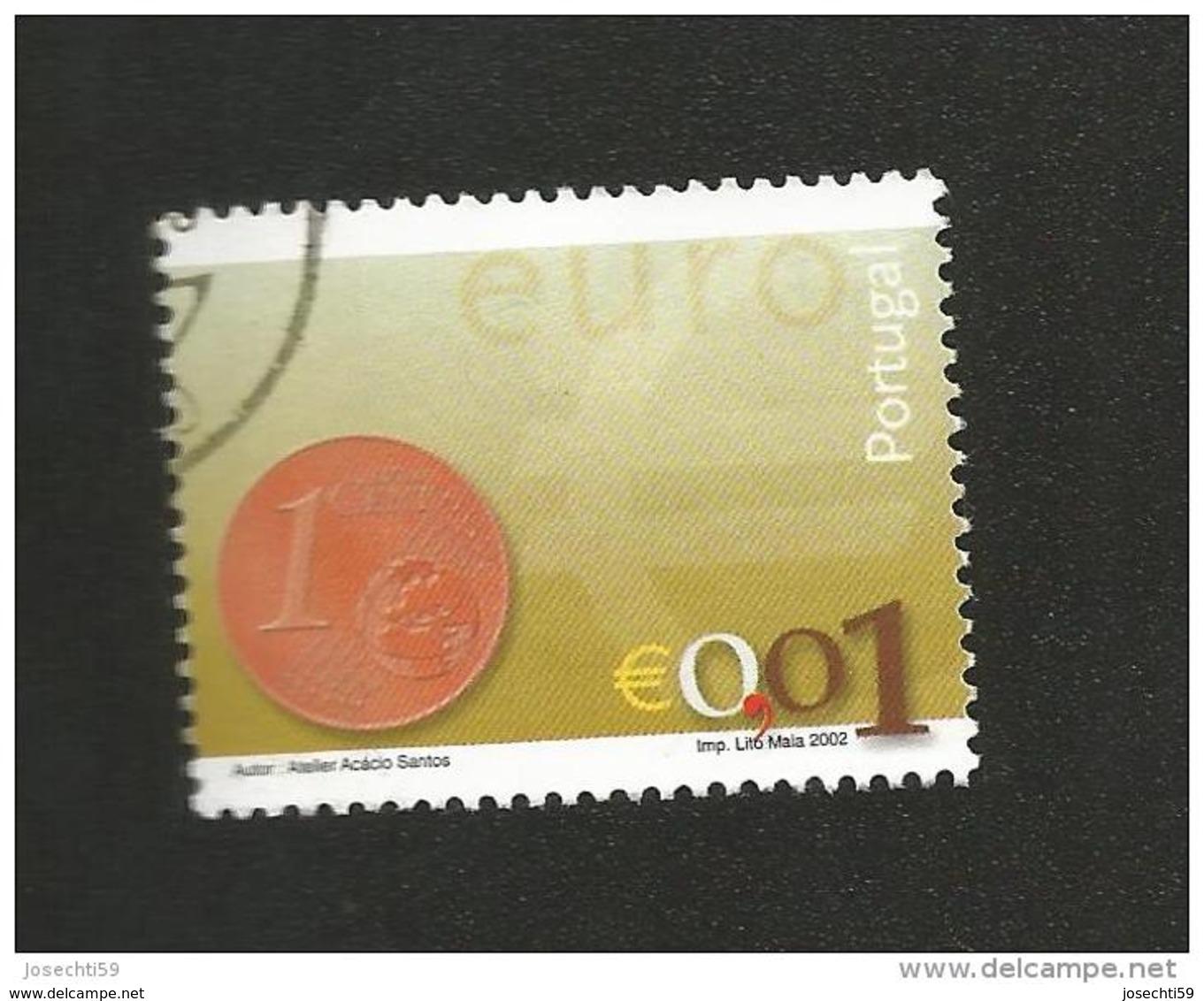 N° 2540 Nouvelle Pièce Euro 0,01 Euro;  Oblitéré Timbre  Portugal 2002 - 1910-... République