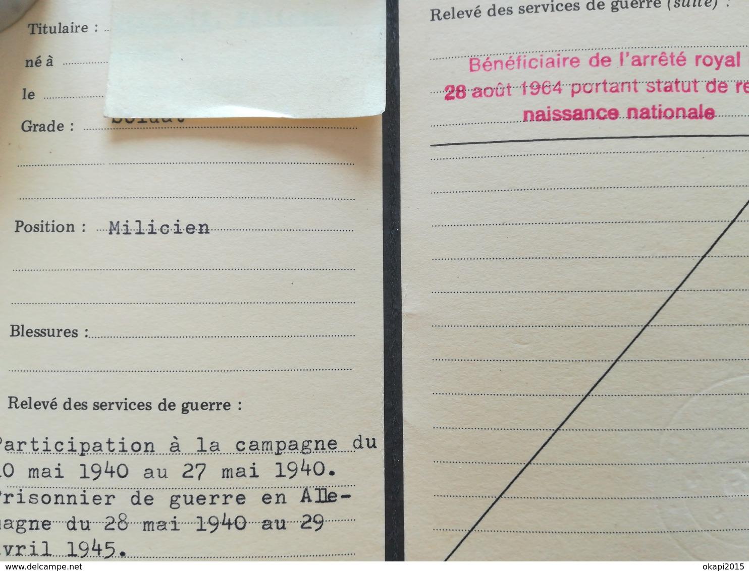 CARTE DES ÉTATS DE SERVICE DE GUERRE DU COMBATTANT 1940 - 1945 BELGIQUE MILITARIA VIEUX PAPIERS DOCUMENTS HISTORIQUES - 1939-45