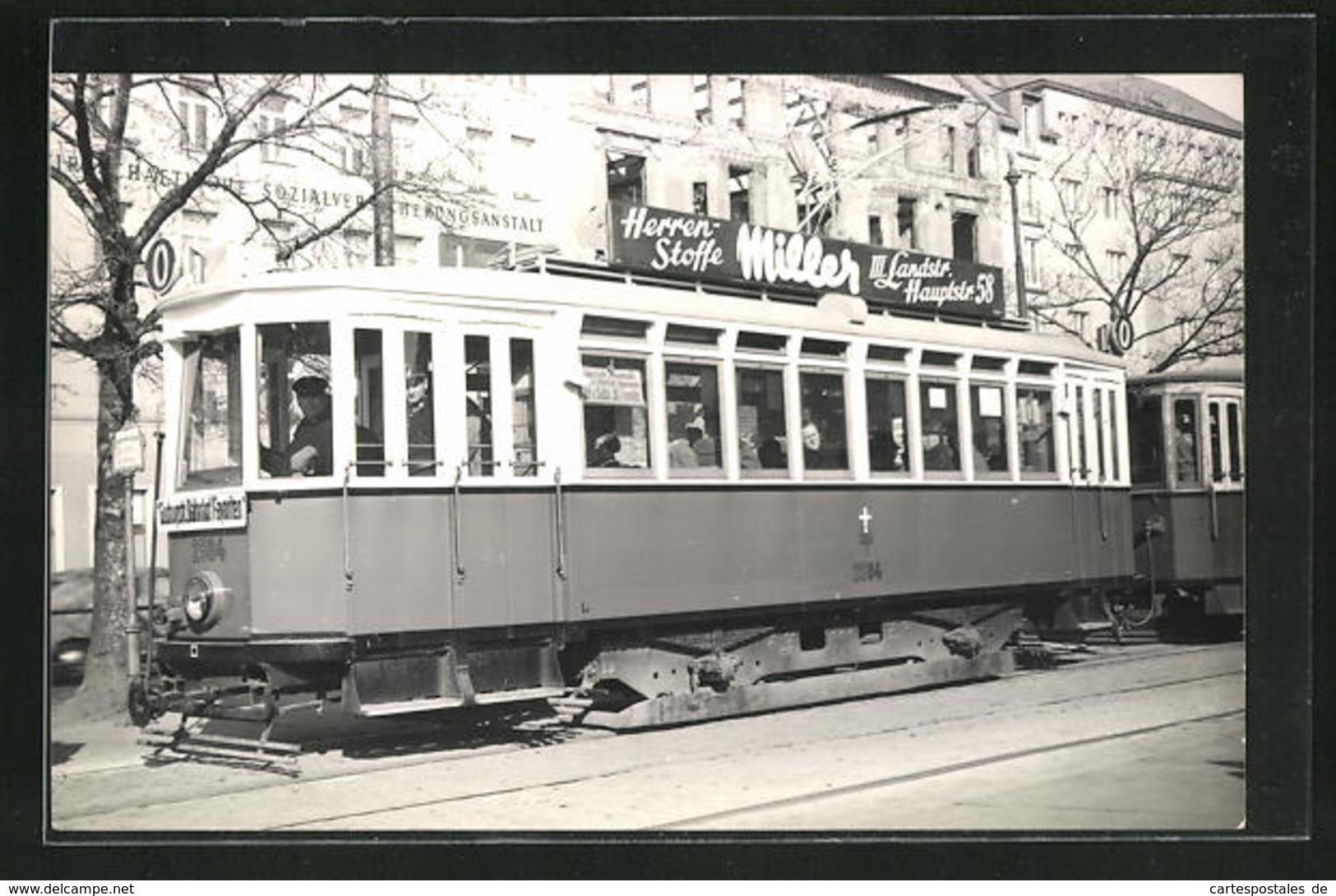 AK Wien, Strassenbahn Mit Reklame Herren-Stoffe Miller - Tram