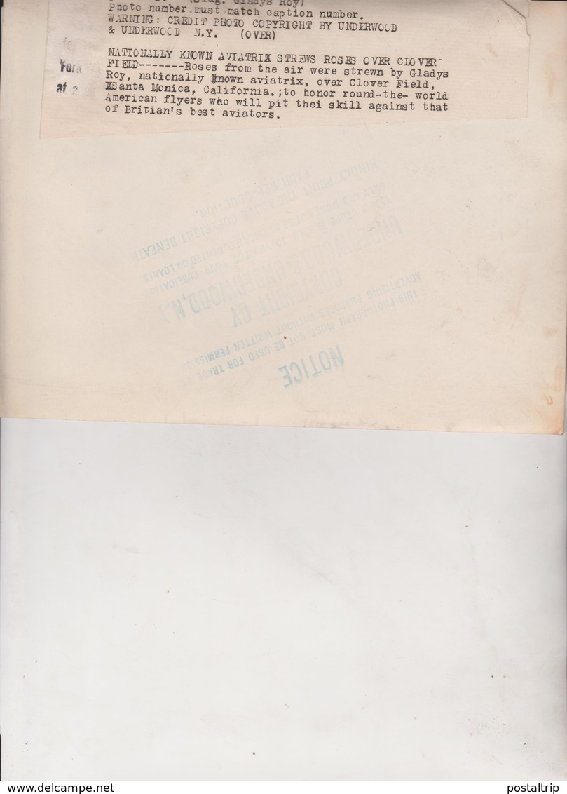 AVIATRIX CLOVER FIELD GLADYS ROY SANTA MONICA CALIFORNIA   22*17CM Fonds Victor FORBIN 1864-1947 - Aviación