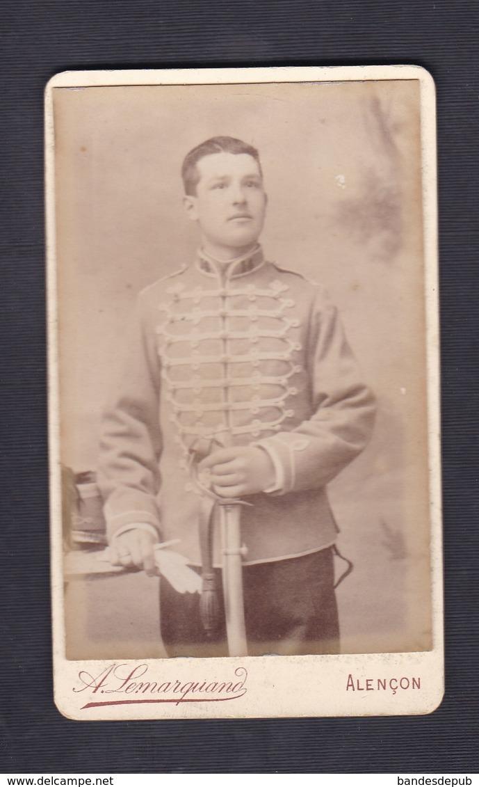Photo Originale Cdv Lemarquand Alencon Portrait Militaire Hussard 14 14è Regiment De Hussards - Guerre, Militaire