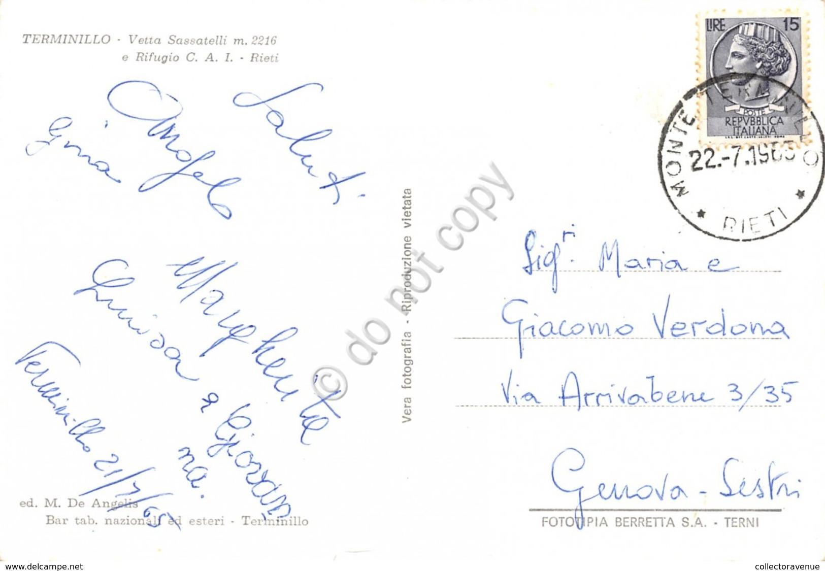 Cartolina Terminillo Vetta Sassatelli Rifugio CAI Auto D'epoca 1965 - Rieti