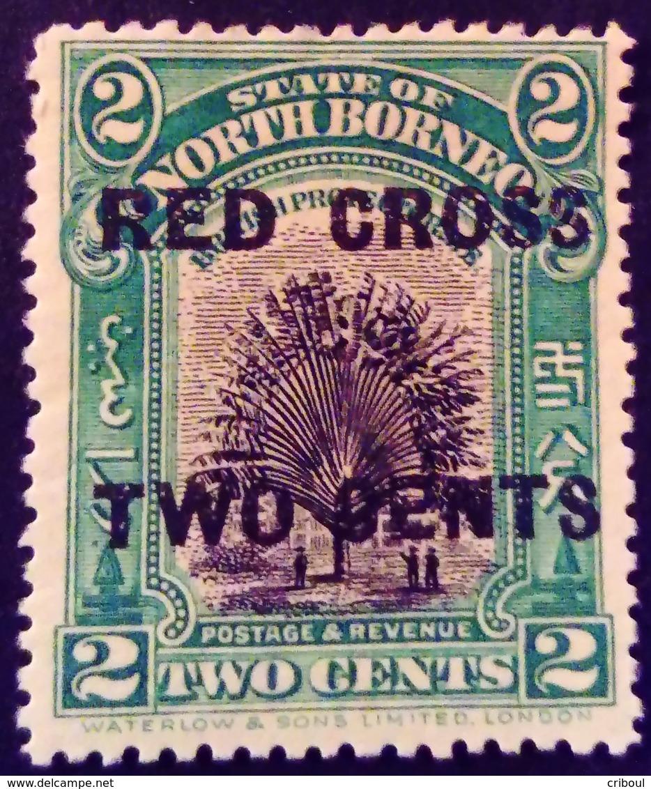 Borneo 1918 Arbre Tree Palmier Palmtree Surchargé Overprinted RED CROSS TWO CENTS Yvert 167 * MH - Nordborneo (...-1963)