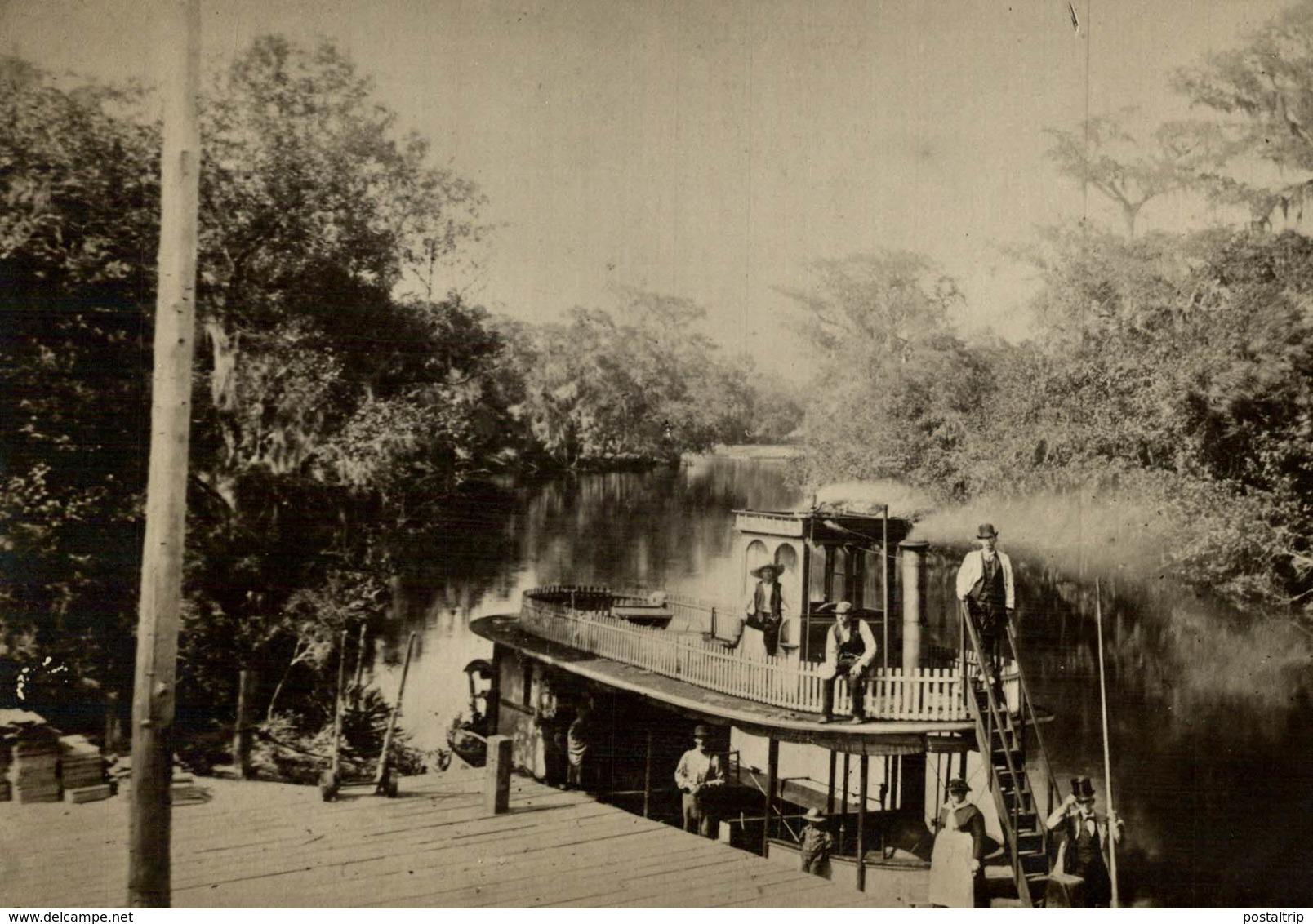 CHASSE AUX ALLIGATORS EN FLORIDA USA DEPART  CROCODILE COCODRILO Krokodil  16*11 CM Fonds Victor FORBIN 1864-1947 - Lugares