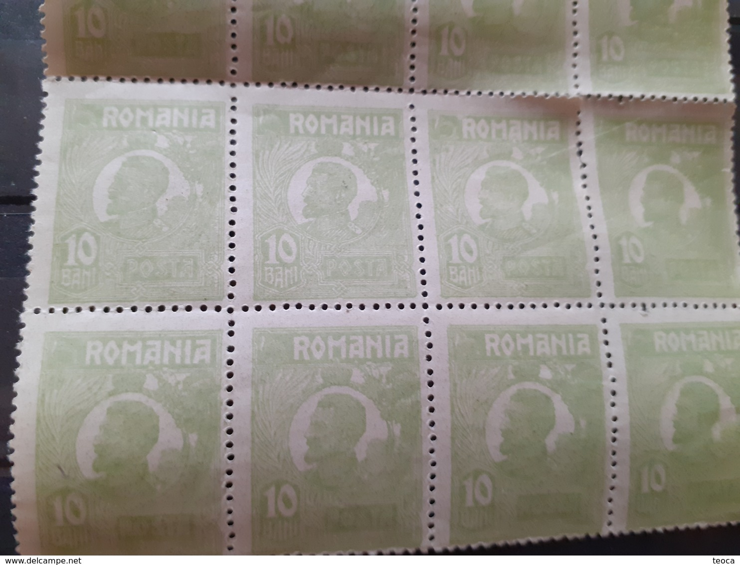 Romania 1922 King Ferdinand 10 Bani, Green,  Souvenir SHEET X15 STAMPS, UNUSED MNH , - Errors, Freaks & Oddities (EFO)