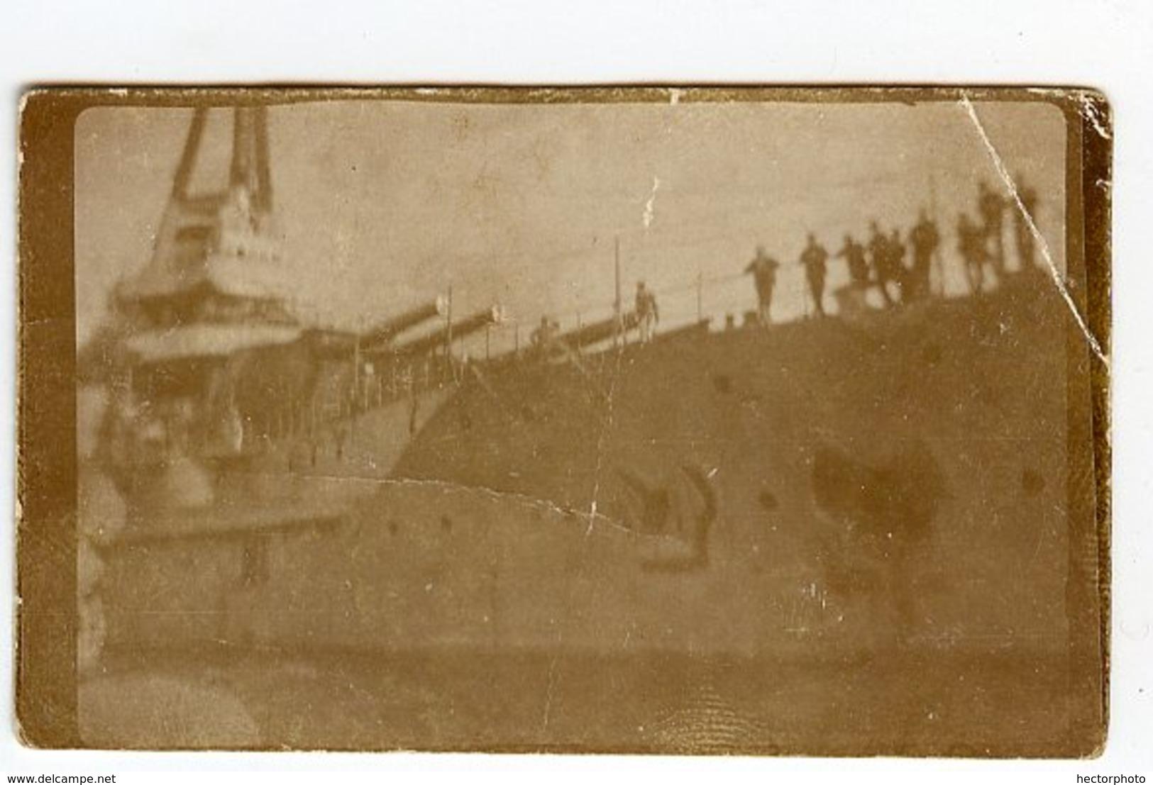 Superbe 1910 1920 Bateau  Boat Guerre Canon Equipage à Situer Identifier Mini Photo Destroyer Fregate - Guerre, Militaire