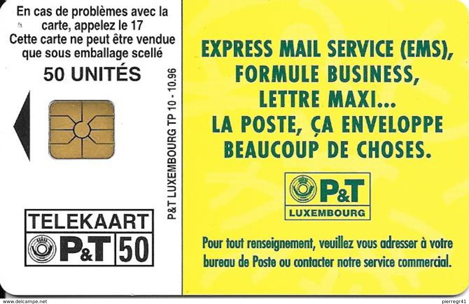 CARTE-PUCE-LUXEMBOURG-50U-TP10-OR2-10/96-AVEC LA POSTE-OURS -V° Sans N° Série-TBE - Luxembourg