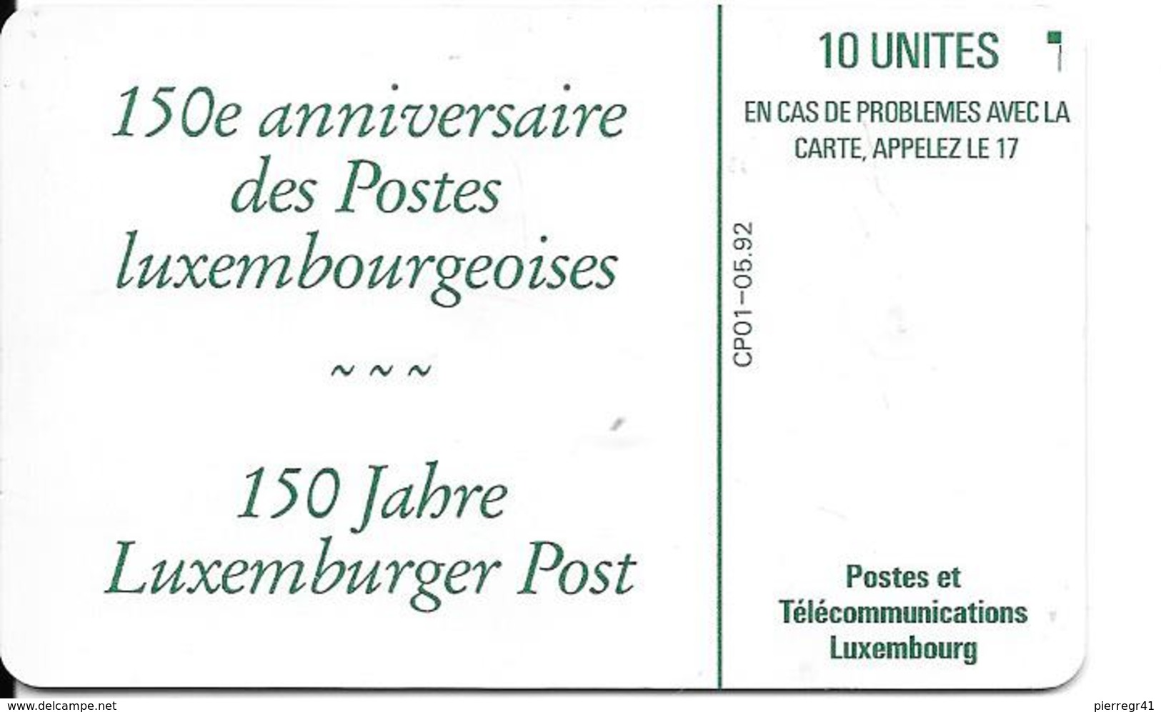 CARTE-PUCE-LUXEMBOURG-10U-CP01-GEM1-05/92-POSTE 150 ANS-V° Sans N° Série-TBE/RARE - Luxembourg