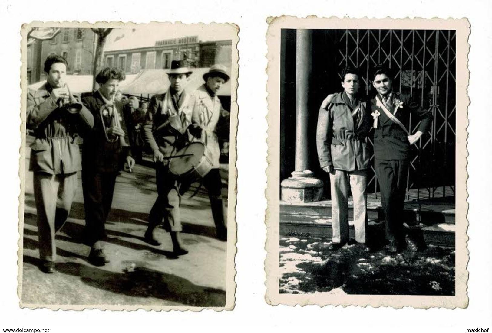 Menu 2 Volets 20 X 18 Cm - Classe 1953 - Montchanin Les Mines (71) Et 2 Photos Conscrits Défilants Dans Les Rues - Menus