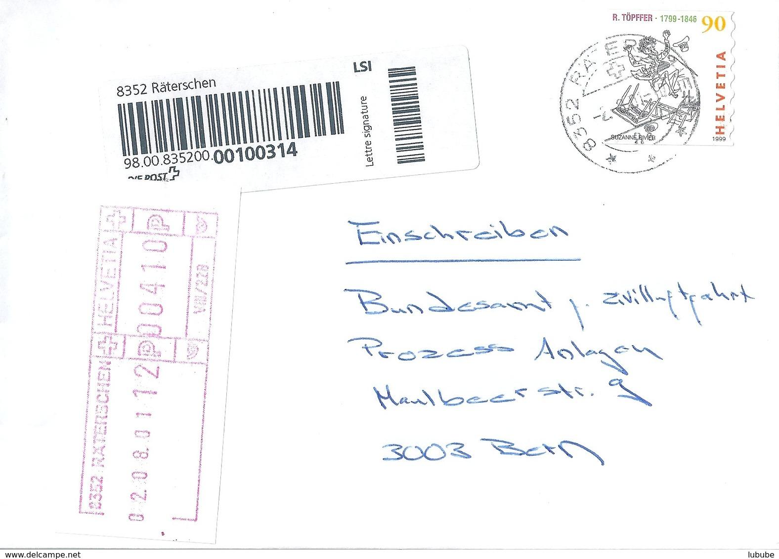 Lettre Signature  Räterschen - Bern  (Schalterfreistempel)            2001 - Svizzera