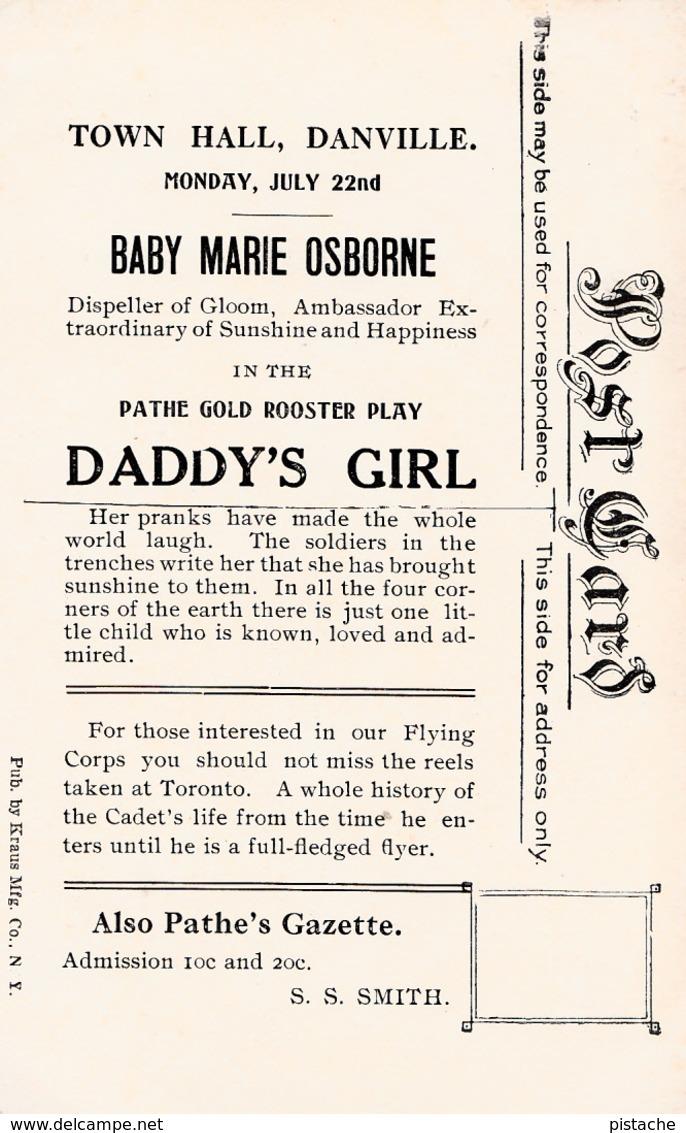 Movie Cinéma - Actress Baby Marie Osborne At Danville Town Hall - Advertisement Publicité - 2 Scans - Posters On Cards
