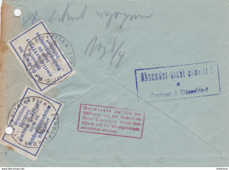 Brief 1944 Von Düsseldorf Nach Krefeld: Amtlich Geöffnet RPD Düsseldorf - Deutschland