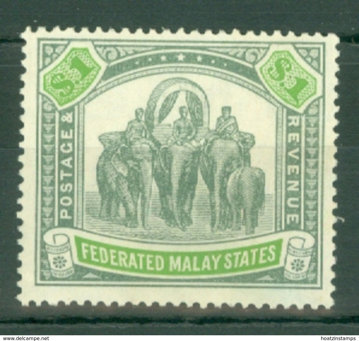 Federated Malay States: 1922/34   Elephant    SG76    $1   Pale Green & Green    MH - Federated Malay States