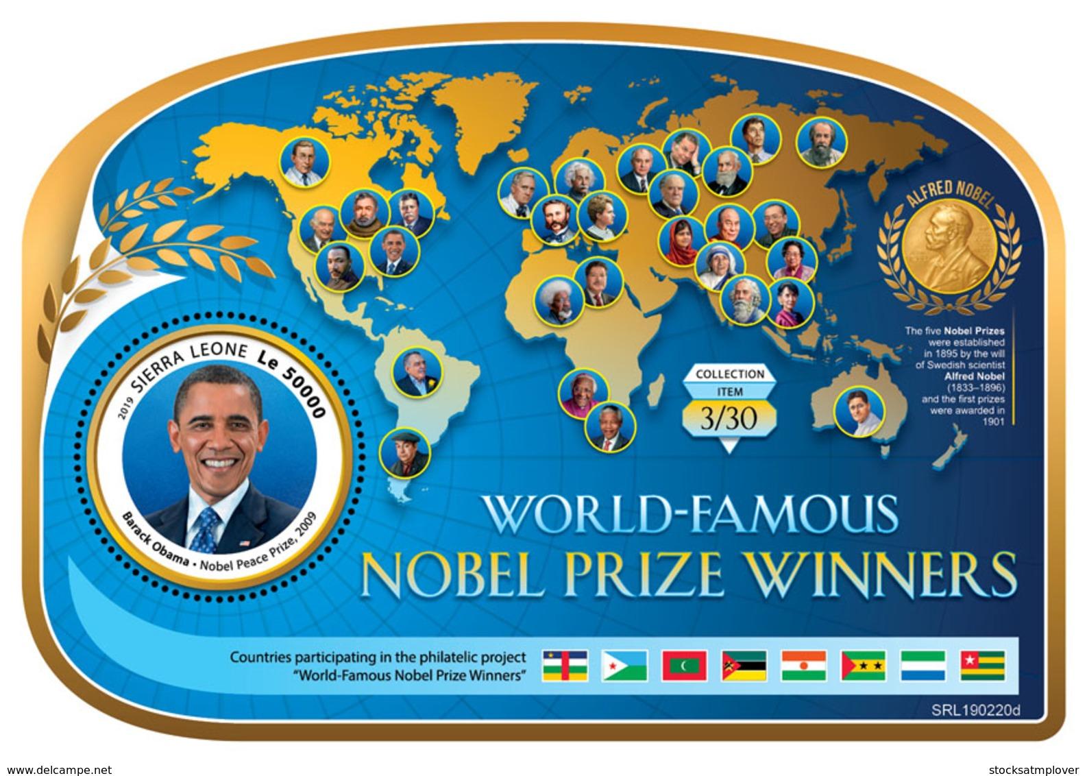 Sierra Leone 2019  Barack Obama  ,Nobel  Peace Prize S201903 - Sierra Leone (1961-...)