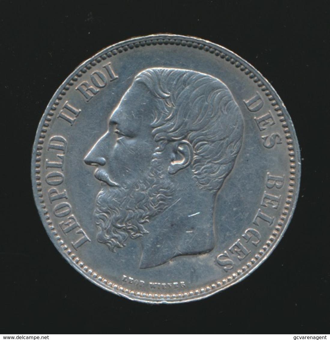 LEOPOLD II  5 FRANC 1868    2 SCANS - 1865-1909: Leopold II