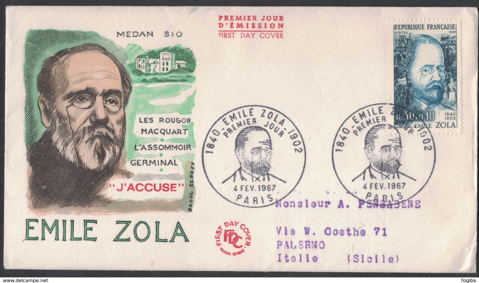 RB50   Célébrité: Emile Zola Ecrivain Et Journaliste Enveloppe 1er Jour Paris 04.02.1967 N°1511 - Scrittori