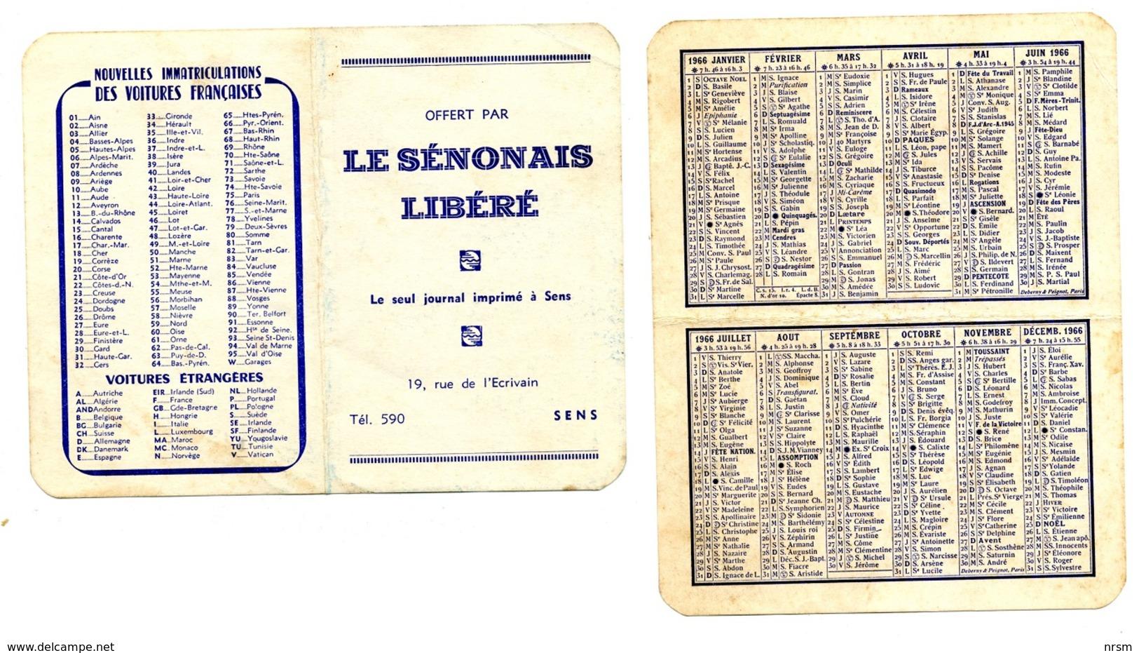 Calendrier 1966 - Le Sénonais Libéré à Sens (Yonne) - Petit Format : 1961-70