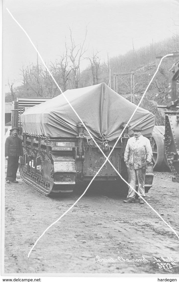 Armée Française  ARTILLERIE CANON  280 Mm   CHENILLES 14-18 Blindage Gros Plan  Grand Format - Guerre, Militaire