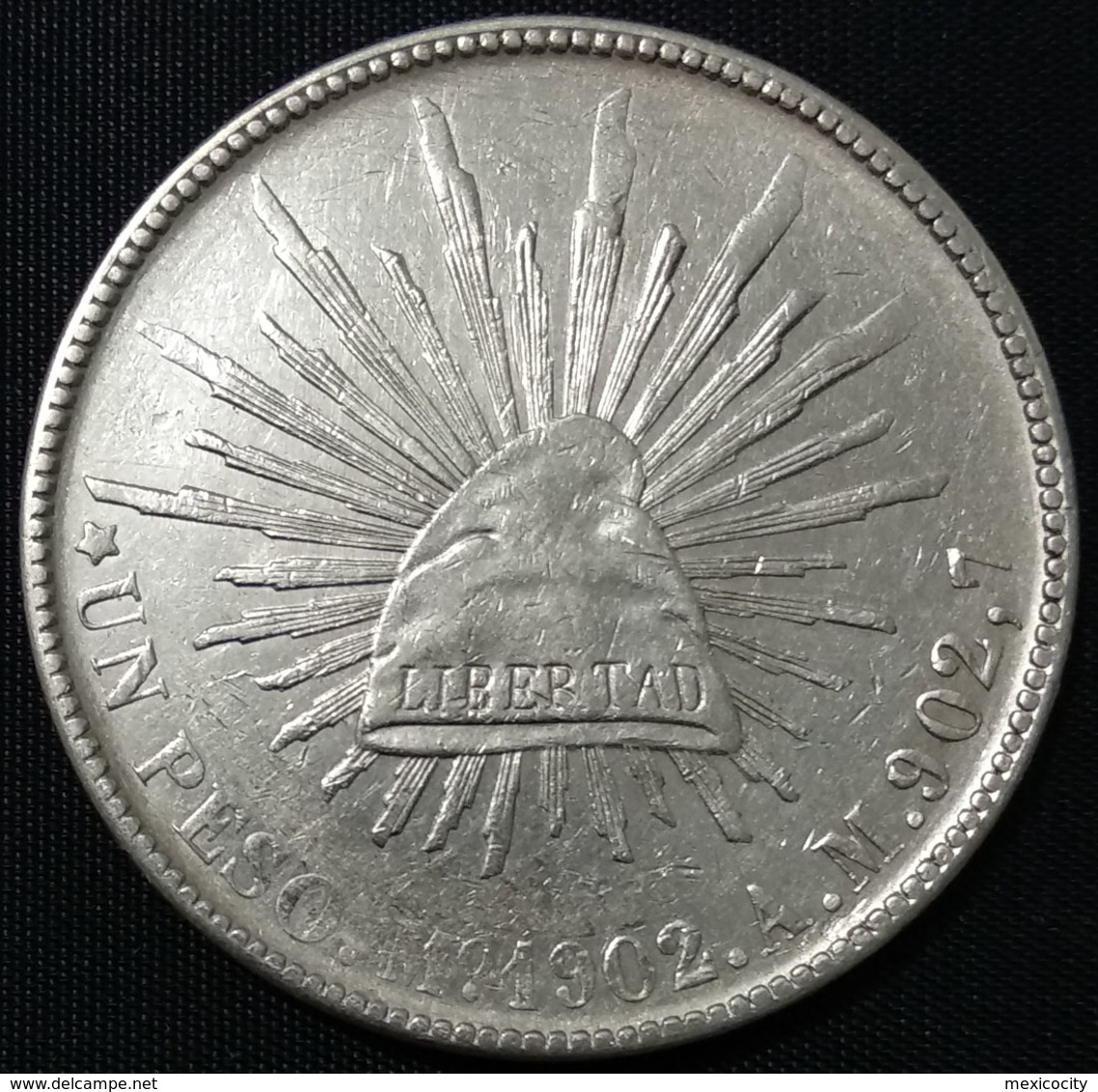 "MEXICO 1902 $1 SHINING CAP ""PESO FUERTE"" Series Silver Coin, ""Mexico City Mint, Assayer AM"" Original Shine - Mexico"
