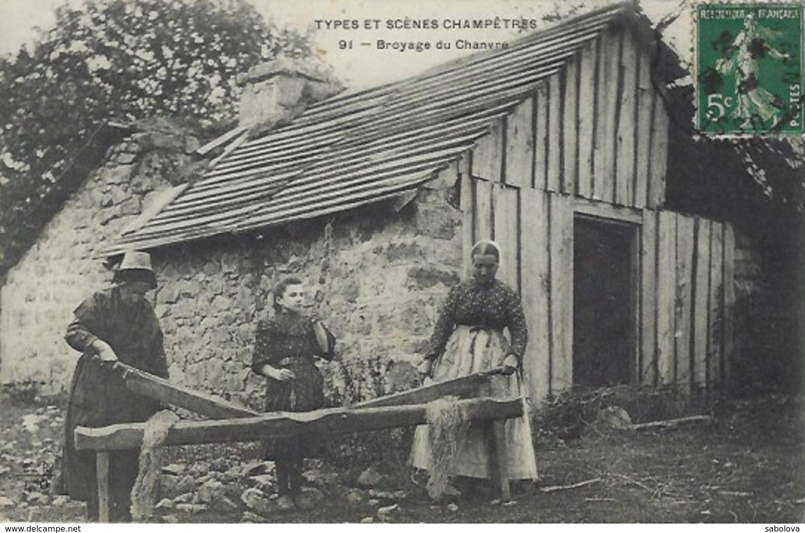 Agriculture Types Et Scènes Champêtres Broyage Du Chanvre - Agriculture