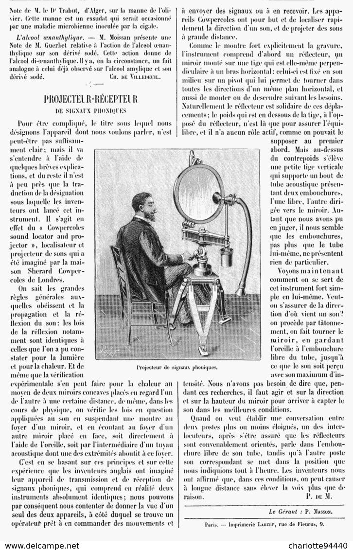PROJECTEUR-RECEPTEUR  De  SIGNAUX PHONIQUES   1901 - Other
