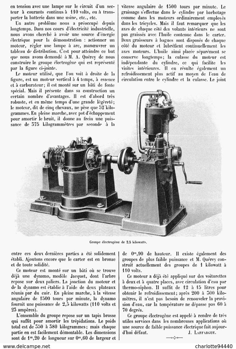 UN GROUPE ELECTROGENE De FAIBLE PUISSANCE  1901 - Technical