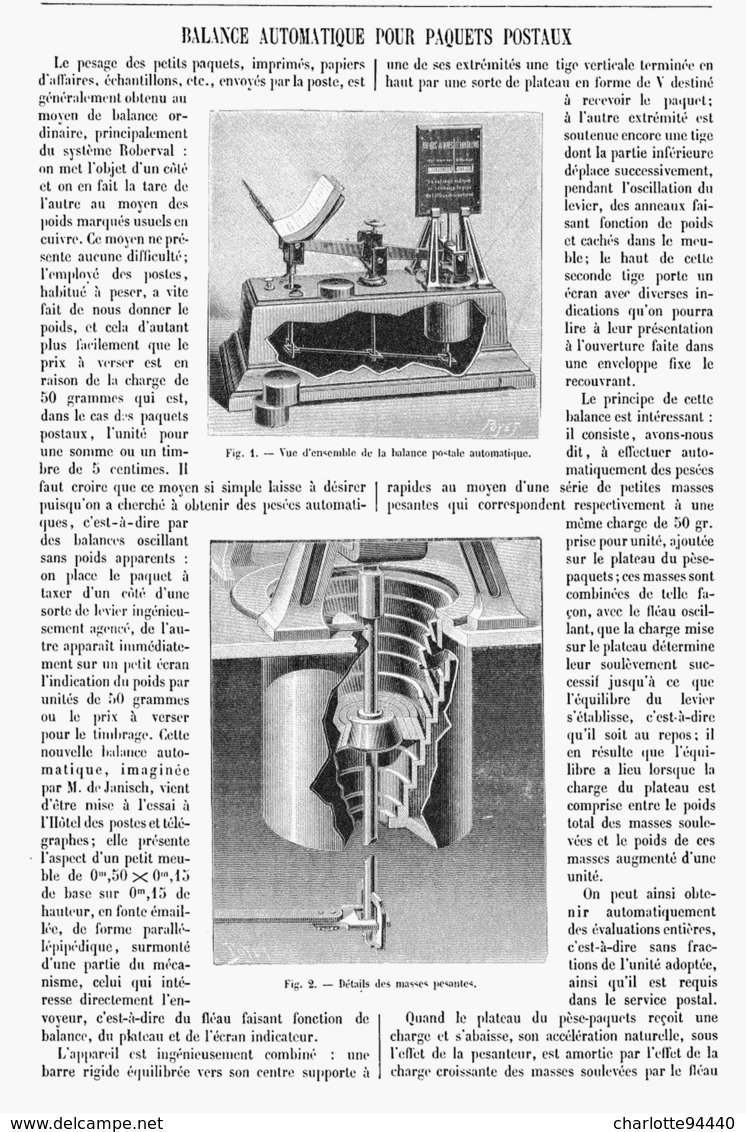 BALANCE AUTOMATIQUE POUR PAQUETS POSTAUX  1901 - Technical