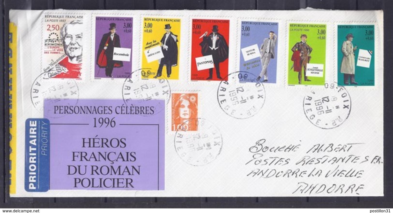 TP N° 3031+ SUR LETTRE RECOMMANDEE DE 1996 POUR POSTE RESTANTE D'ANDORRE - Marcophilie (Lettres)