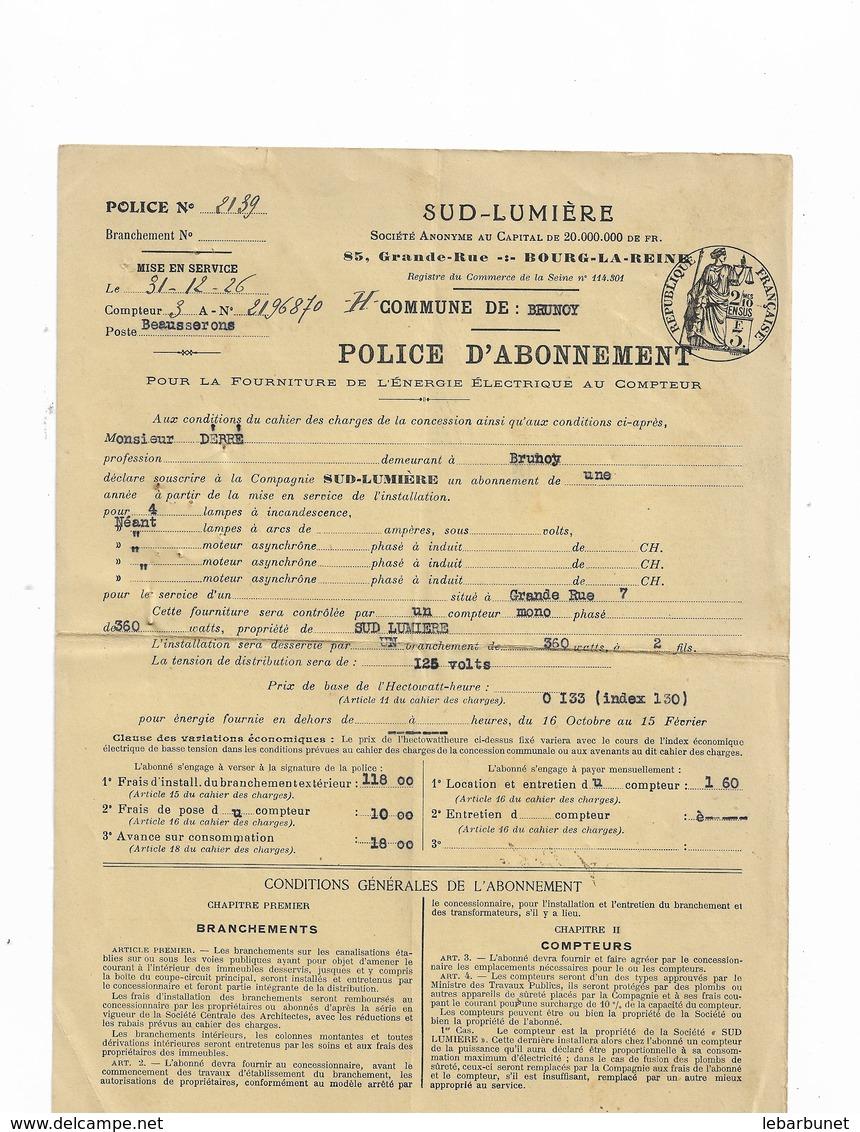 Facture 1926 Sud-Lumière Abonnement Commune De Brunoy - France