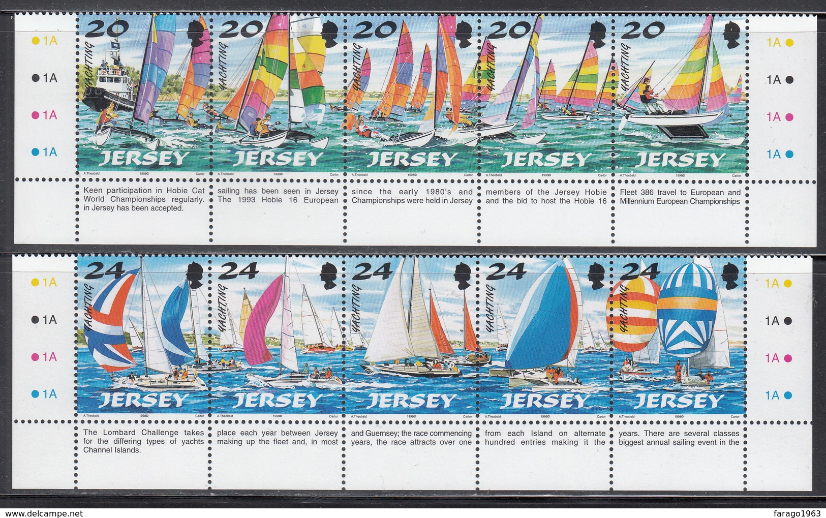 1998 Jersey Sailing  Complete Set Of 2 Strips Of 5 MNH @  WELL BELOW FACE VALUE - Jersey