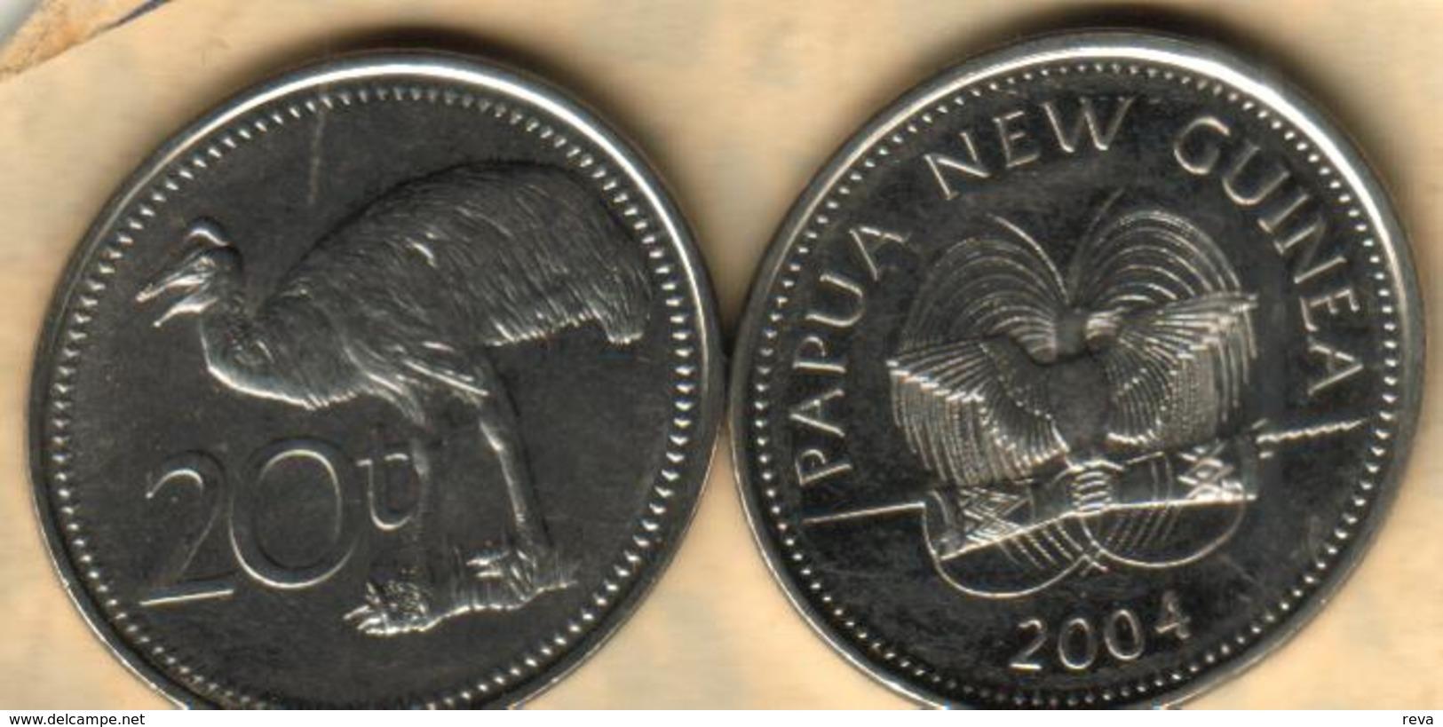 PAPUA NEW GUINEA 20 TOEA EMU BIRD FRONT BIRD EMBLEM BACK 2004 VF KM5 READ DESCRIPTION CAREFULLY!! - Papua-Neuguinea