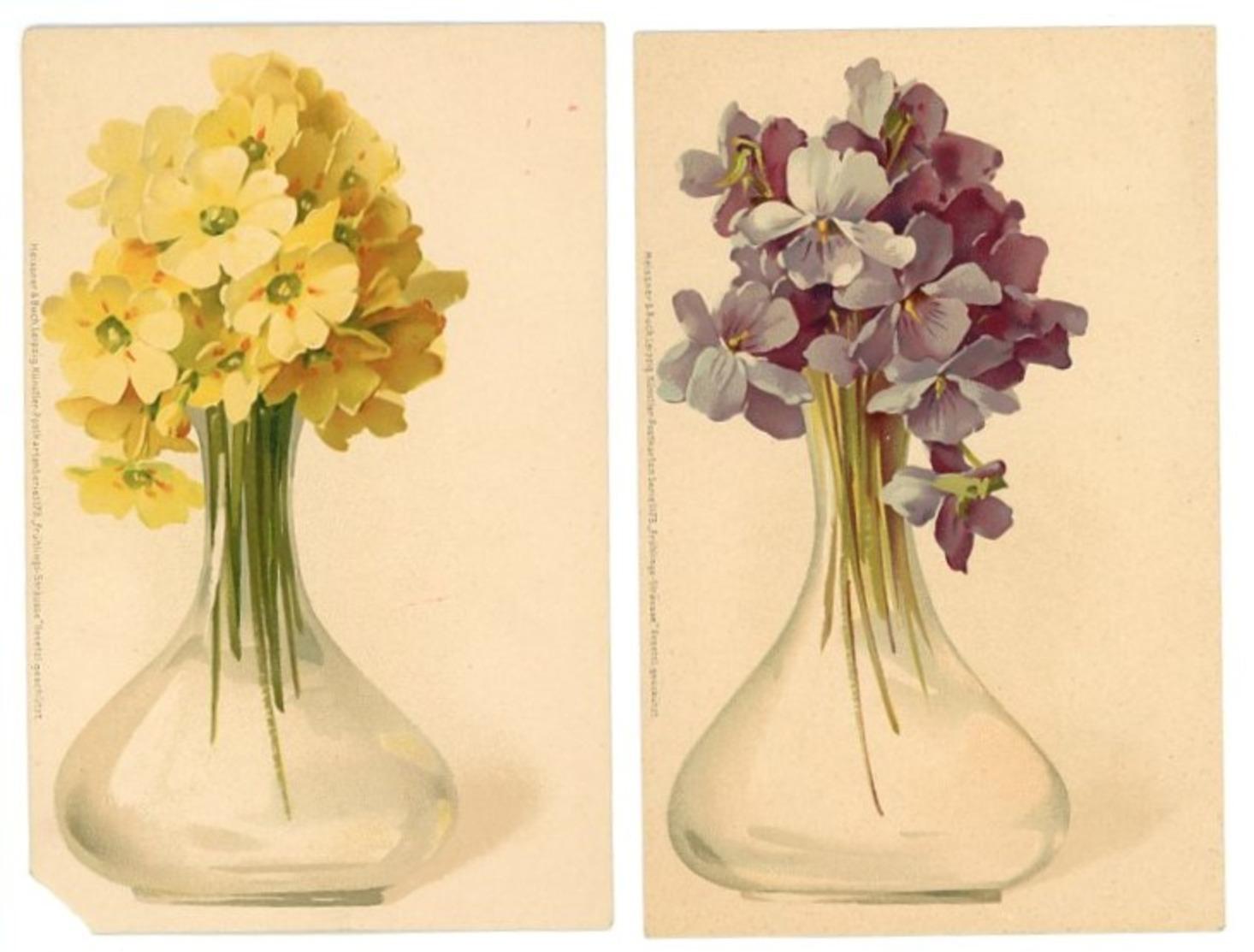 LOTTO DUE CARTOLINE FIORI IN VASO_FORMATO PICCOLO_NON VIAGGIATE_ MEISSNER & BUCH (8/23) - Blumen