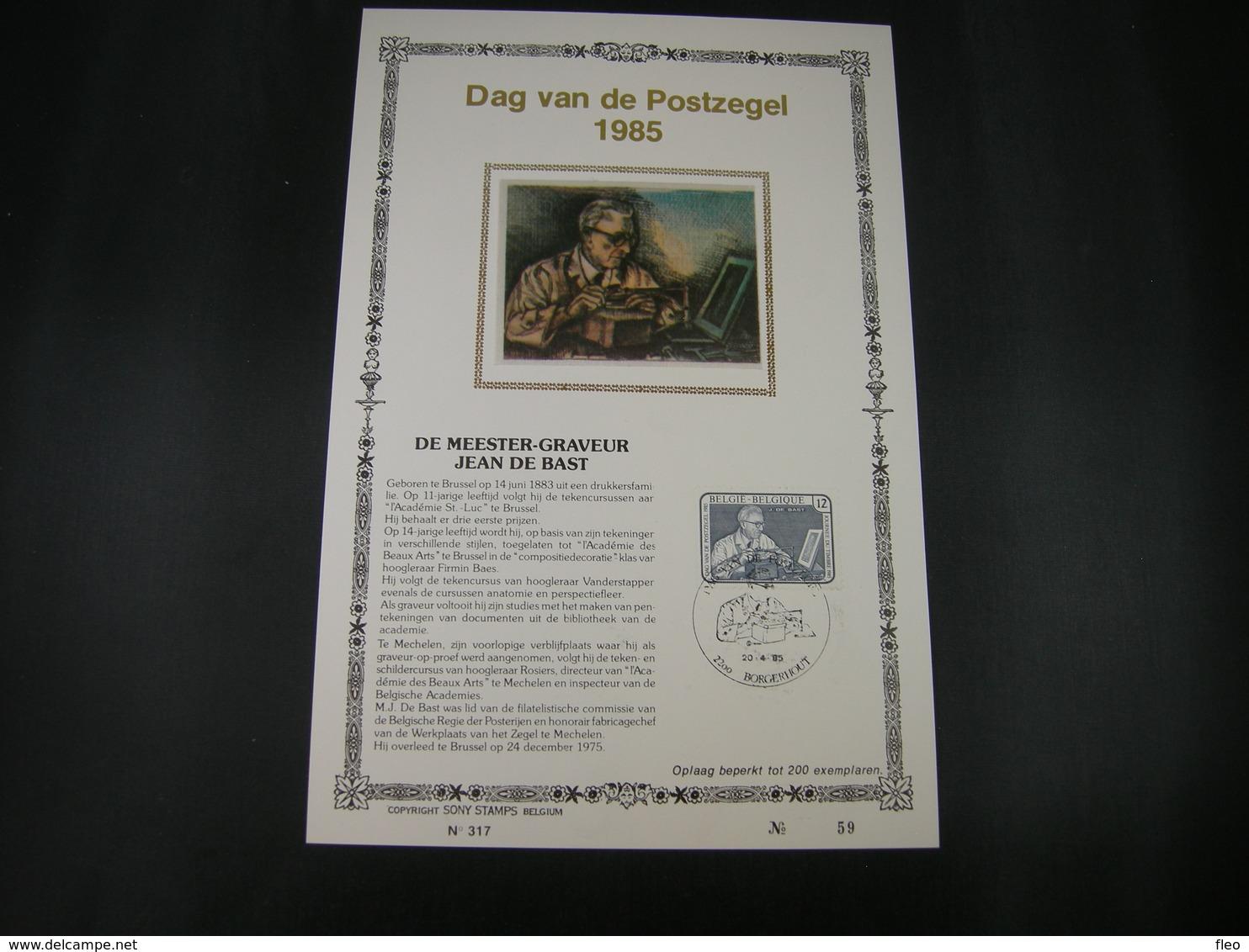 "BELG.1985 2169 FDC ZIJDE Filatlic Kaart NL N°59/200 E :"" Journée Du Timbre , Jean De Bast Graveur , Dag Van De Postzeg "" - FDC"