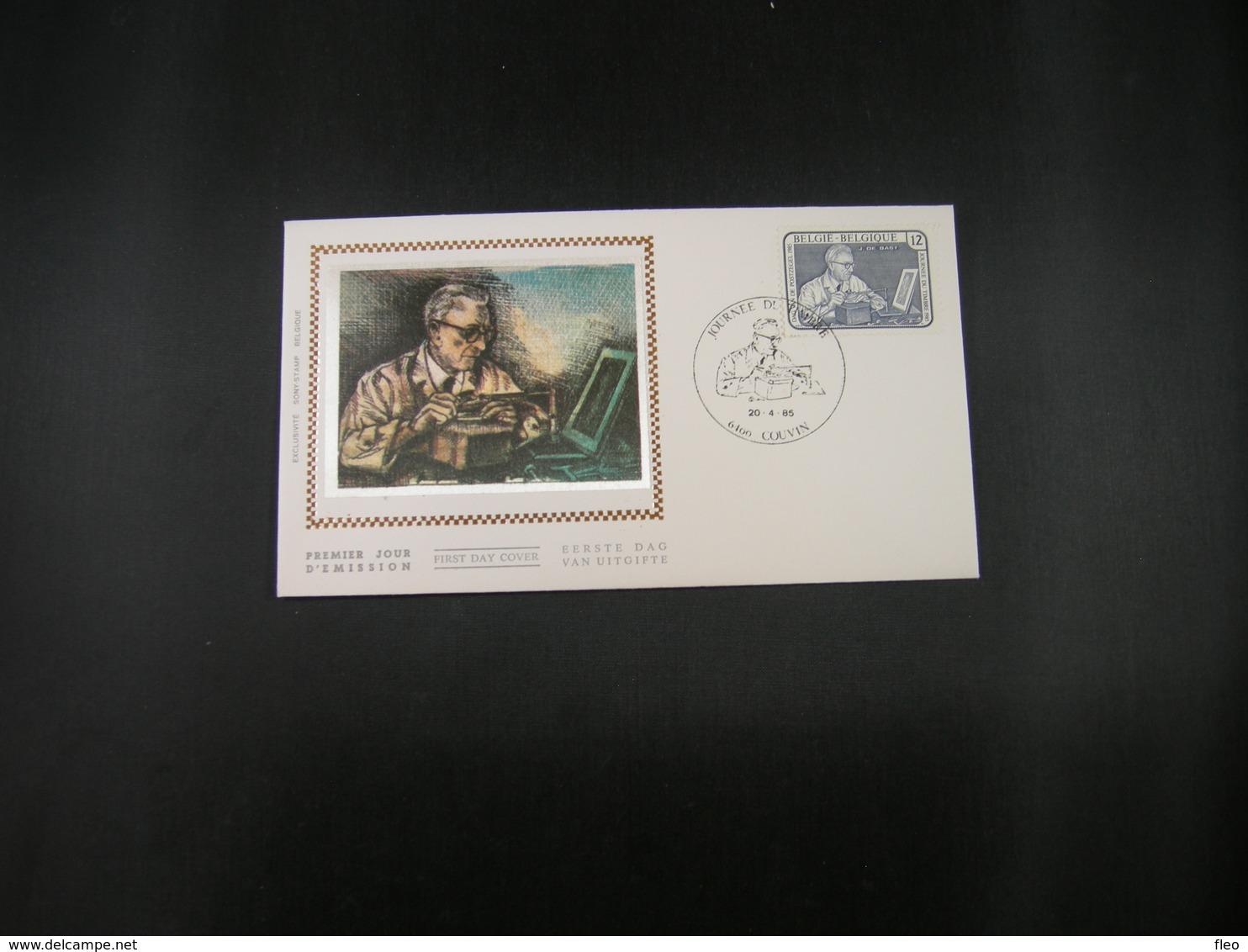 """BELG.1985 2169 FDC Soie/zijde :"""" Journée Du Timbre , Jean De Bast Graveur , Dag Van De Postzegel """" - FDC"""