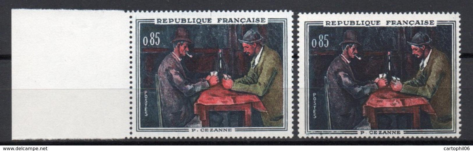 - FRANCE Variété N° 1321f - 85 C. Cézanne 1961 - CHIFFRES BLANCS - Signé CALVES - Cote 38 EUR - - Errors & Oddities