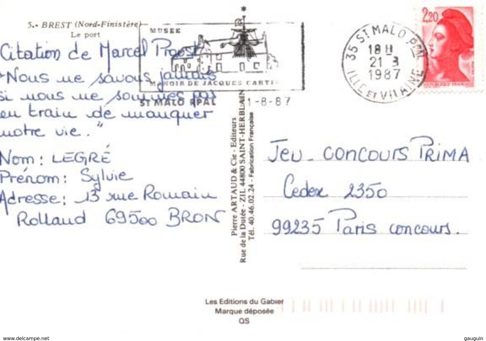 """CPM - BREST - LE PORT - DRAGUEUR """"M620 Berlaimont"""" - Guerre"""
