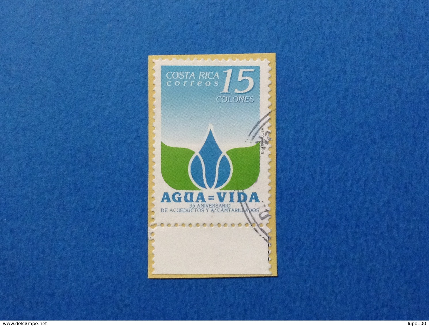 1996 COSTA RICA ACQUA ACUEDUCTOS 15 C FRANCOBOLLO USATO STAMP USED - Costa Rica