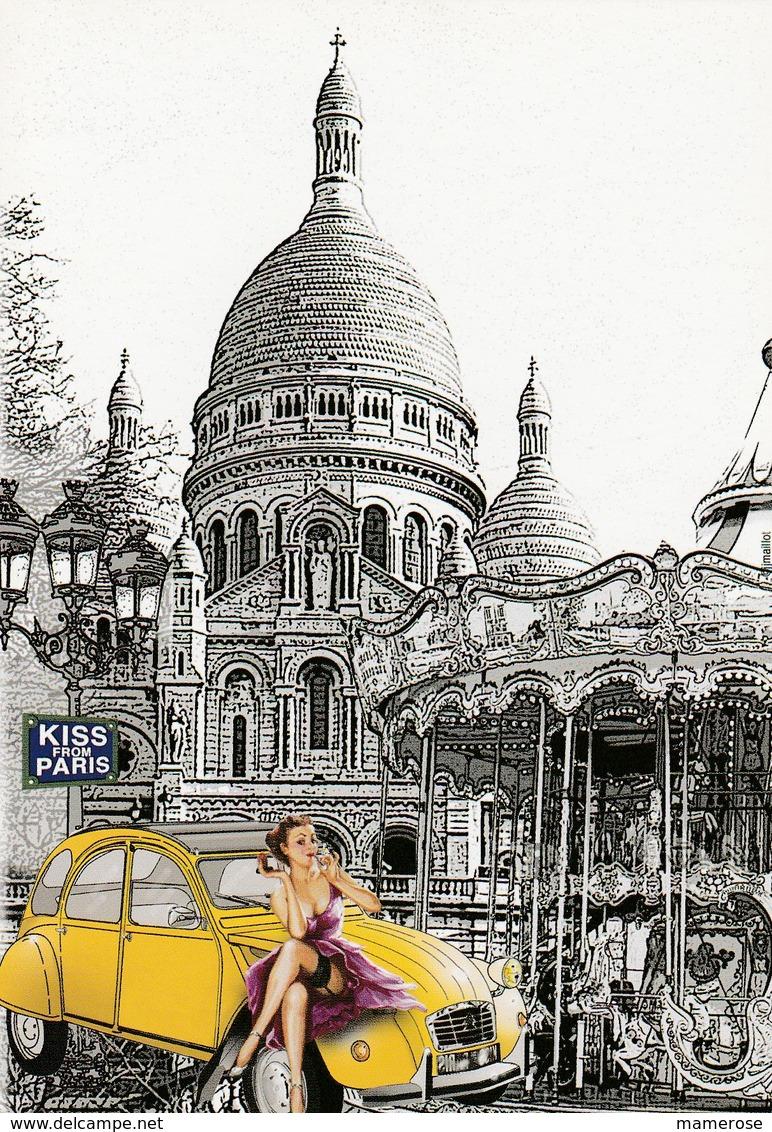 PIN-UP Assise Sur Le Capot D'une CITROËN 2 Cv JAUNE. Illustration Du Sacré-Cœur De Montmartre Et Manège. KISS FROM PARIS - Pin-Ups
