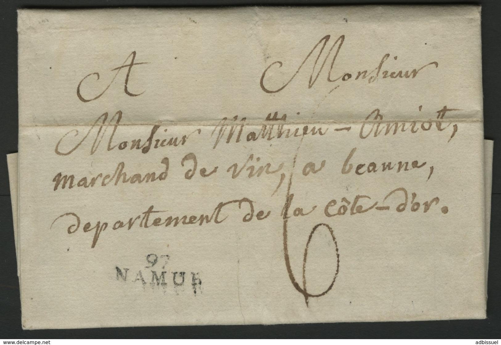 """1804 """"97 / NAMUR"""" (22*9) En Noir S/ Lettre Adressée à Beaune (Bourgogne). TB. Voir Description - Poststempel (Briefe)"""