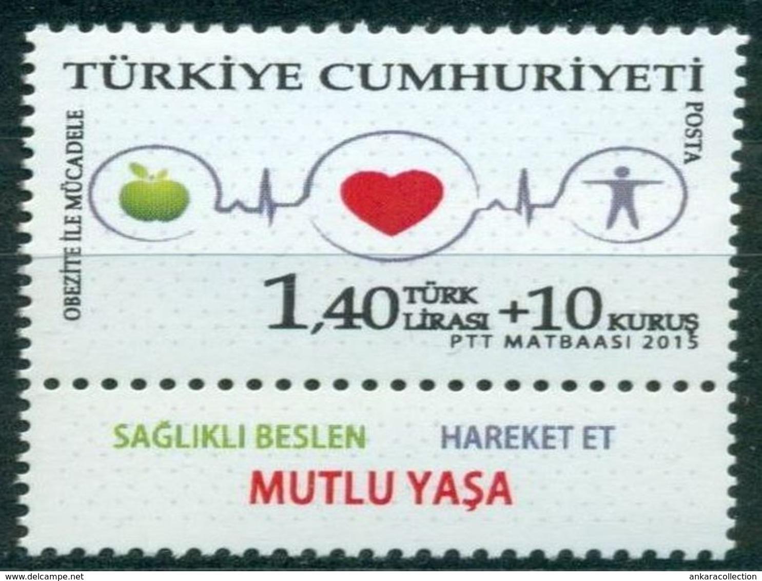 AC - TURKEY STAMP -  THE FIGHT AGAINST OBESITY MNH 12 NOVEMBER 2015 - 1921-... République