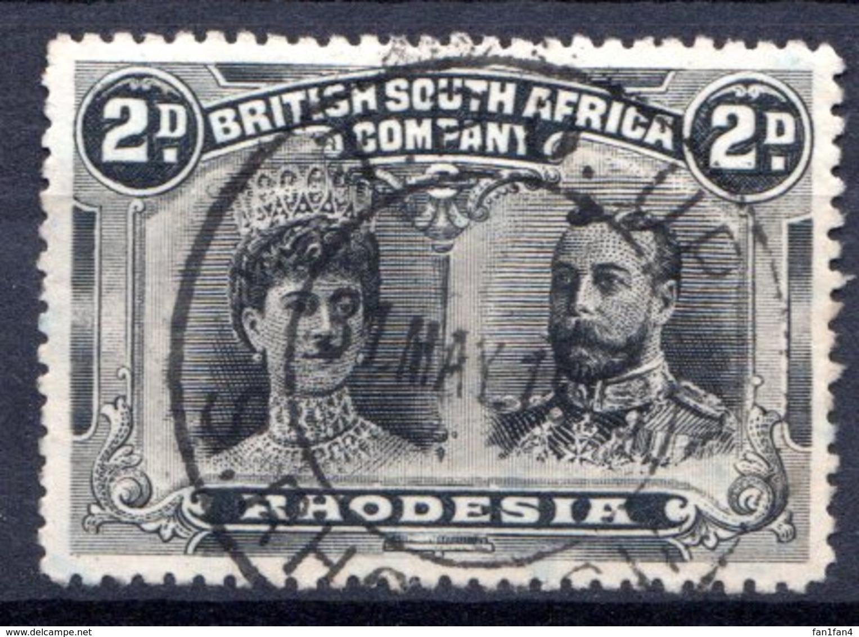 RHODESIE - (Compagnie Britannique) - 1910 - N° 23 - 2 P. Gris Et Noir - (Reine Mary Et George V) - Grande-Bretagne (ex-colonies & Protectorats)