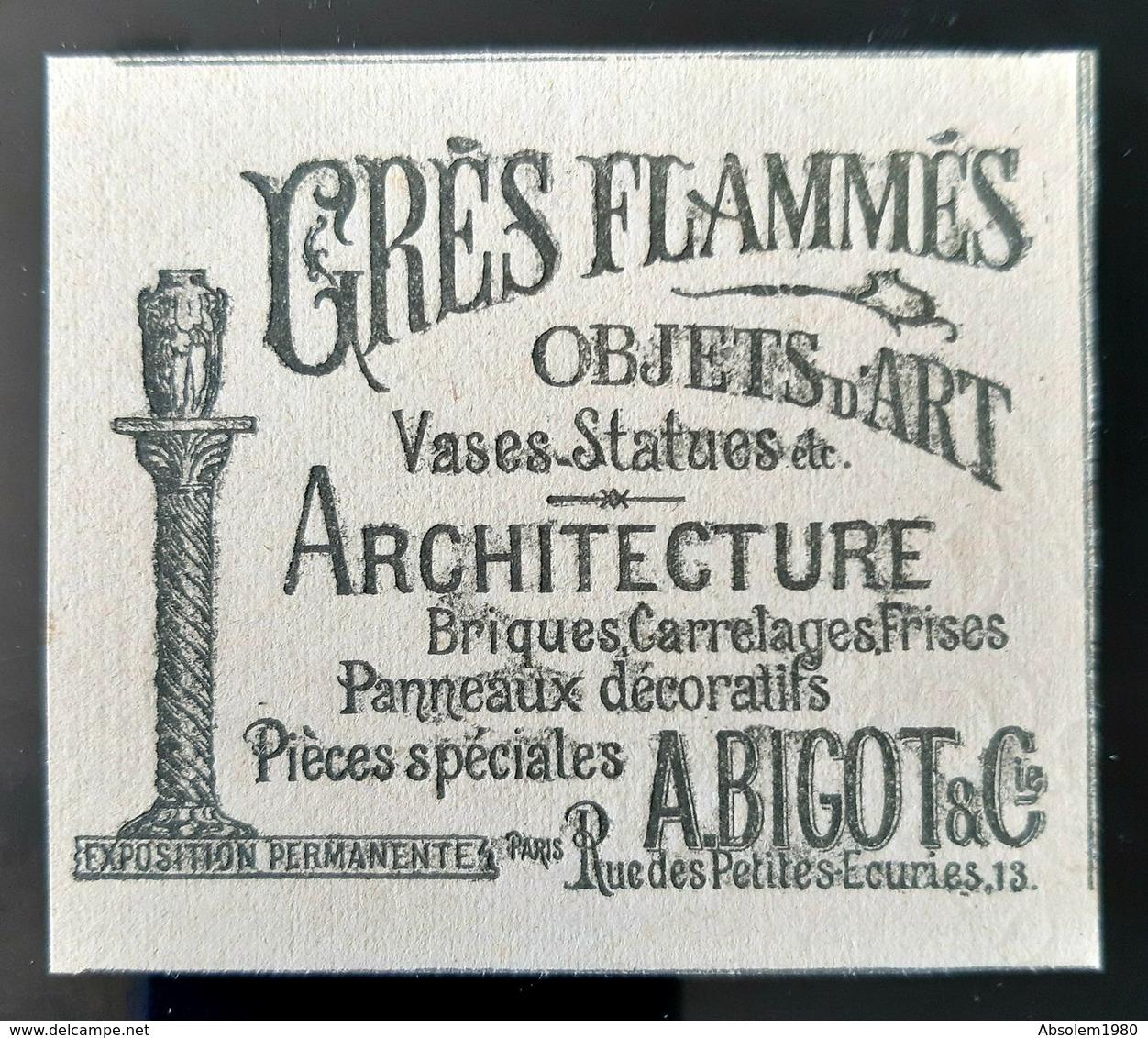 GRES FLAMMES BELLE PUBLICITE 1900  A BIGOT ARCHITECTE VASES PANNEAUX DECORATIFS ART NOUVEAU  1900 ANTIQUE JUNGENSTILL AD - Publicités