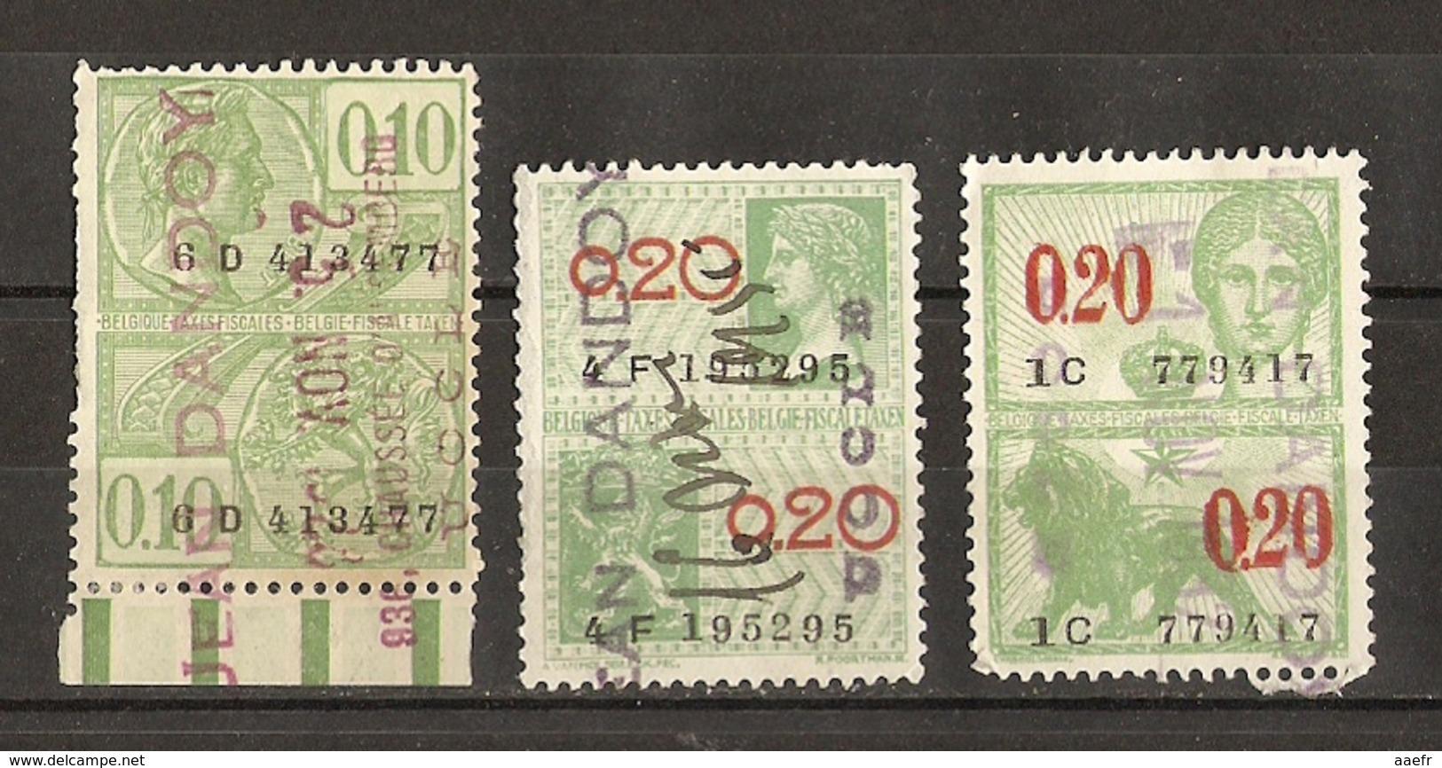 Belgique 1922/31 - JEAN DANDOY - Uccle - Petit Lot De 3 Timbres Fiscaux - Revenue Stamps