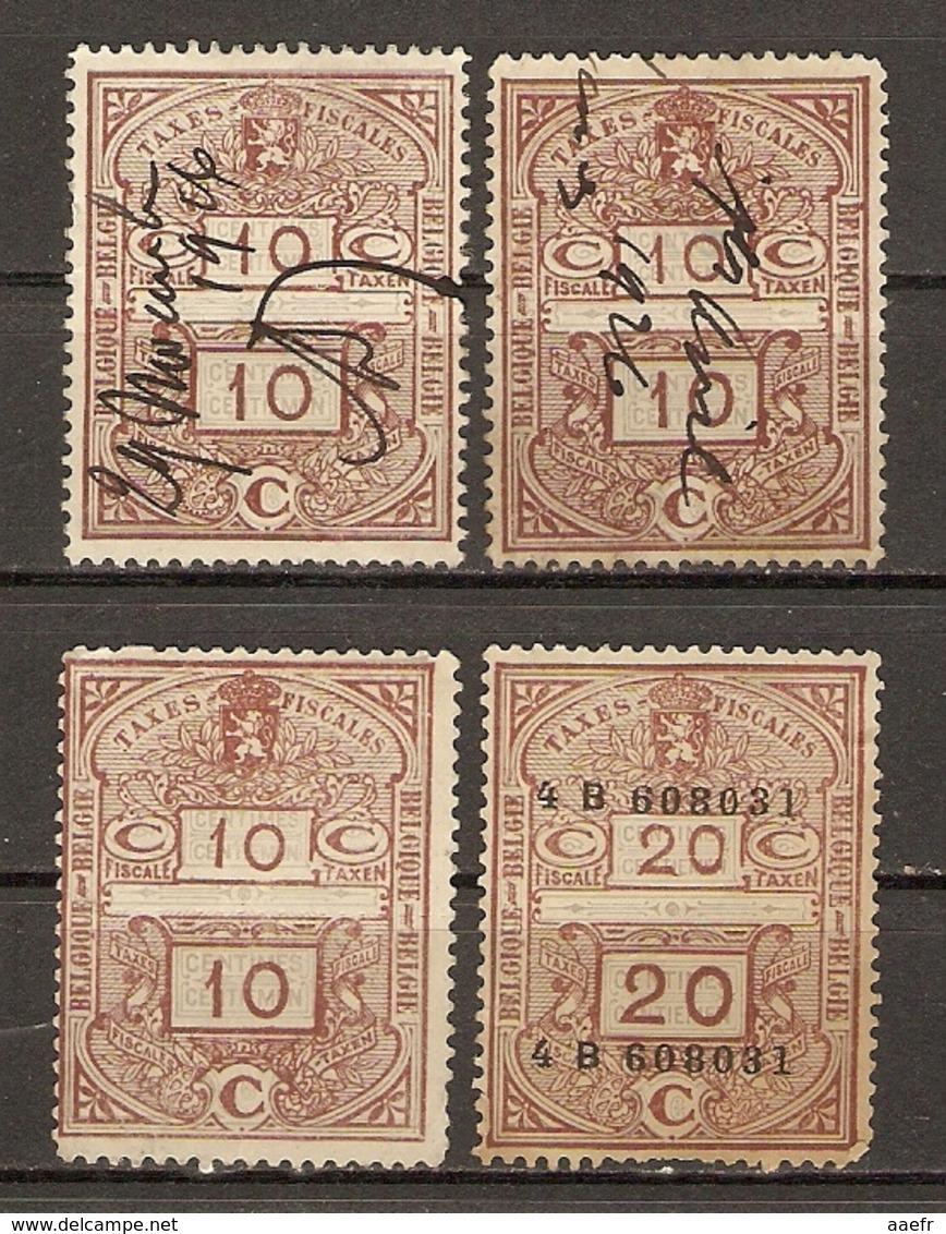 Belgique 1926 - Petit Lot De 4 Timbres Fiscaux - 10 C Et 20 C - 2 Neufs - 2 Décollés - Sellos