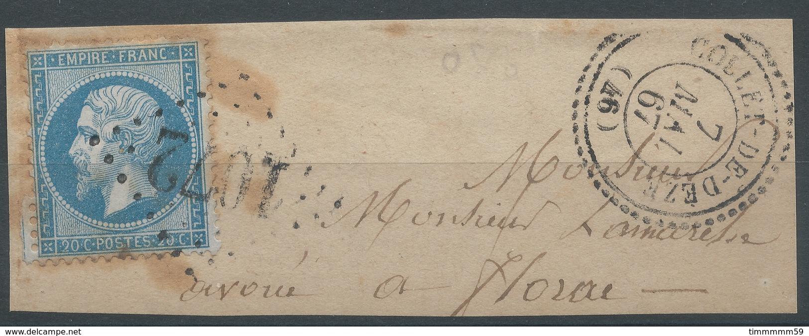 Lot N°50084  N°22/fragment, Oblit GC 1072 Et Cachet Perlé De Coolet-de-Dèze, Lozère (46), Ind 16 - 1862 Napoléon III