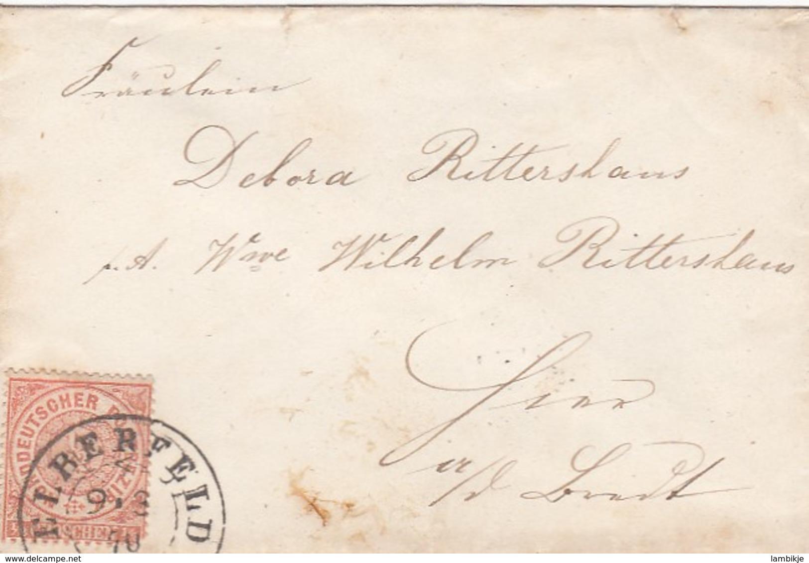 AD Nord Deutscher Postbezirk Brief 1870 - Conf. De Alemania Del Norte