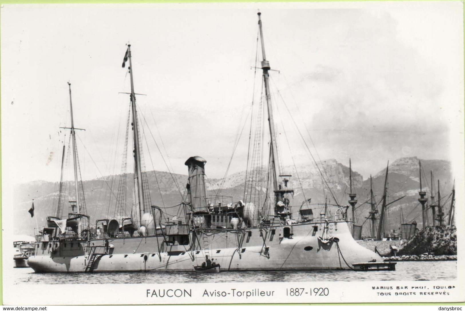 FAUCON  AVISO TORPILLEUR  1887-1920 / Photo Marius Bar, Toulon / Marine - Bateaux - Guerre - Militaire - Guerra