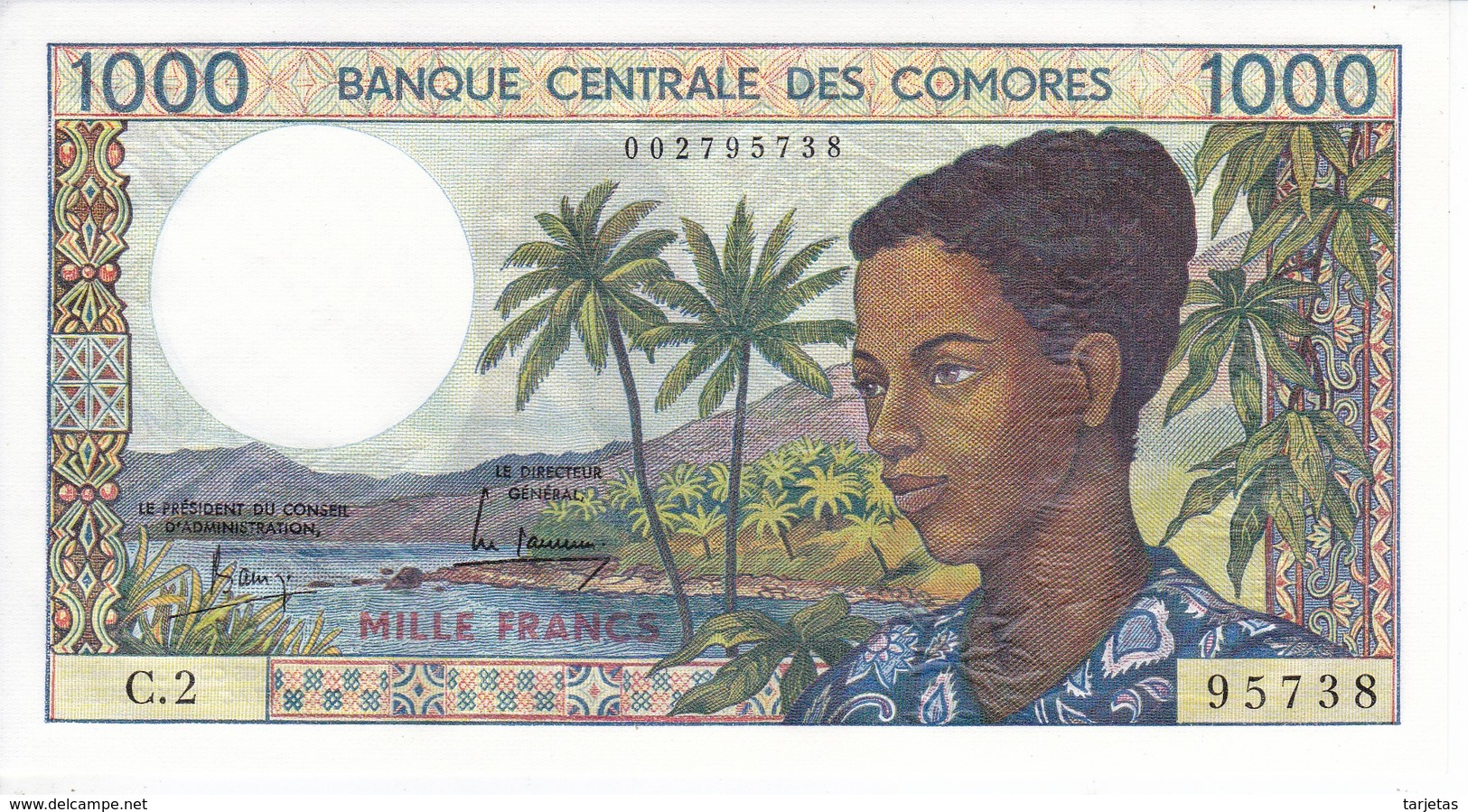 BILLETE DE  COMORES DE 1000 FRANCS DEL AÑO 1984 SIN CIRCULAR-UNCIRCULATED - Comoren