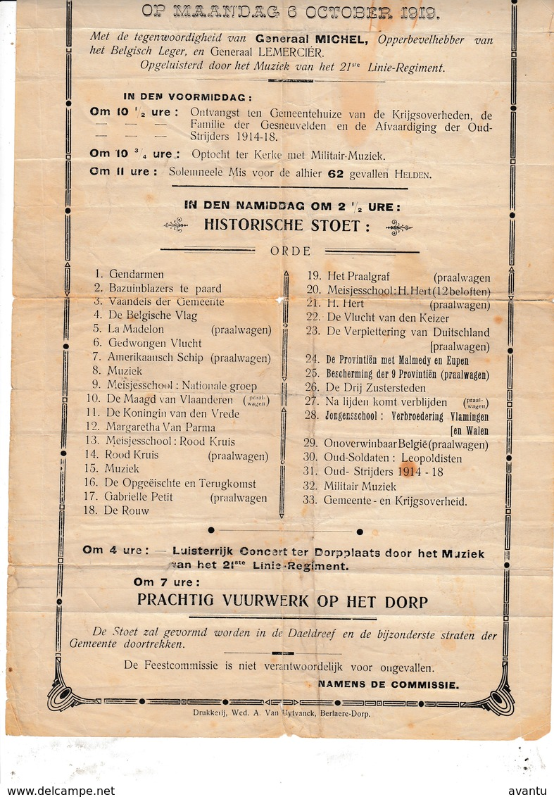 BERLARE / BERLAERE / 1919  / AFFICHE HISTORISCHE STOET / ZEER ZELDZAAM - Documentos Históricos